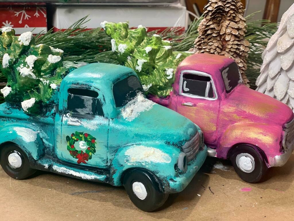 Set of 4 Truck with Tree Lanterns for at home paint party