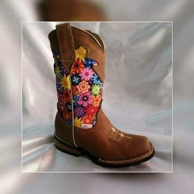 Bota Rodeo Niña estampada de flores