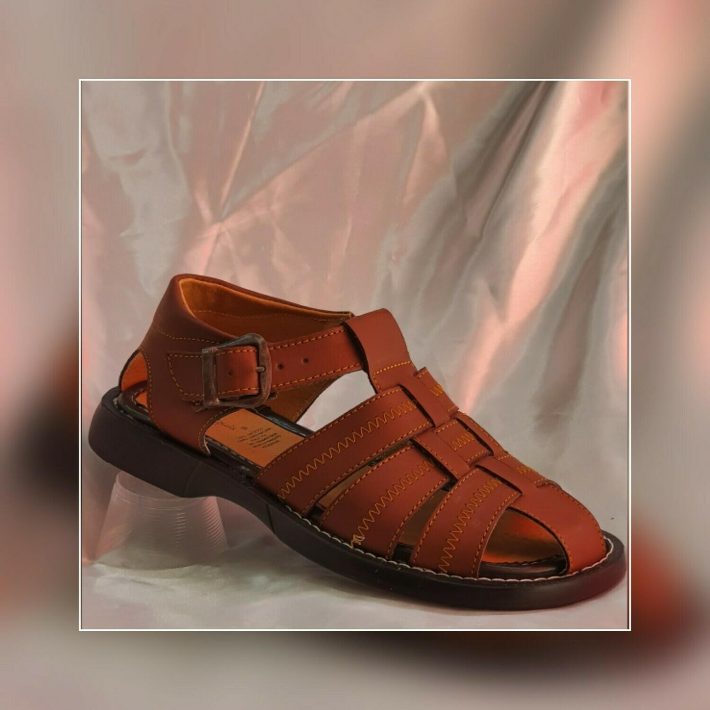 Sandalia Huarache de piel para descanso color moka