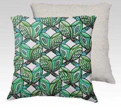 Aqua Birds Velvet Pillow (large)