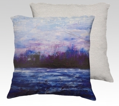 Purple Landscape Velvet Pillow (small)