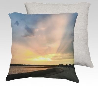 Compo Beach Sunset Velvet Pillow (large)
