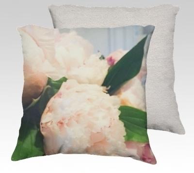 Peonies 2 Velvet Pillow (large)