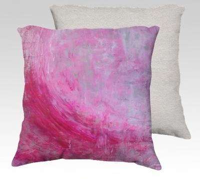 Pink Wave Velvet Pillow (small)