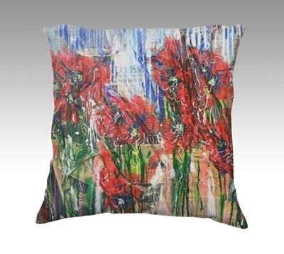 Poppies Velvet Pillow (small)