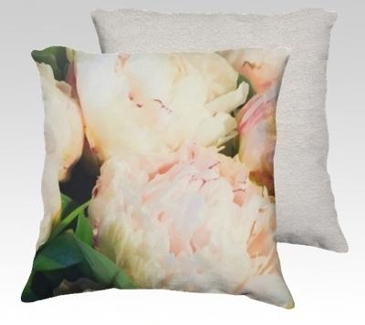 Peonies 1 Velvet Pillow (large)