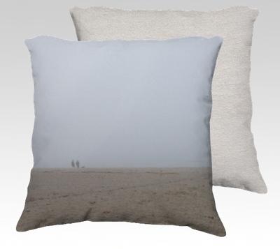 Foggy Beach Velvet Pillow (small)