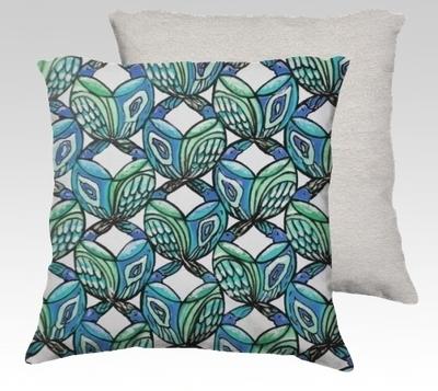 Blue Birds Velvet Pillow (small)