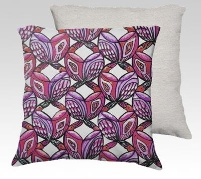 Pink Birds Velvet Pillow (large)