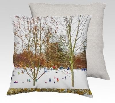 Winter Sledding Velvet Pillow (small)