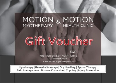 Gift Voucher for Massage and Myotherapy