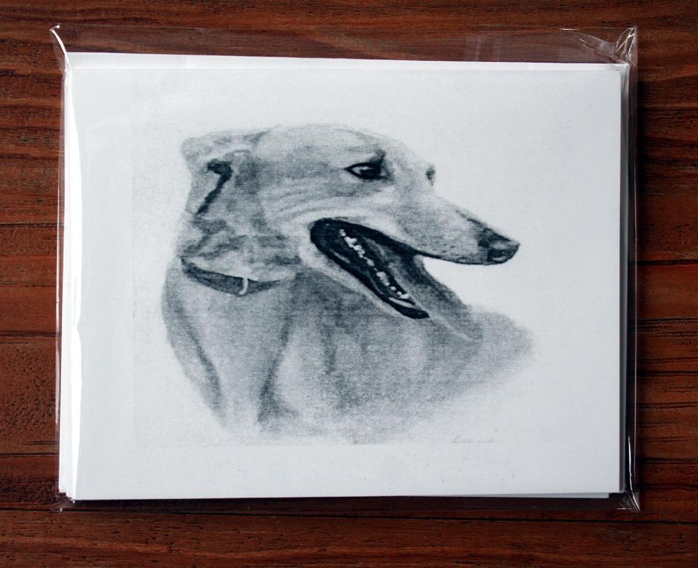 Greyhound Study One Note Cards