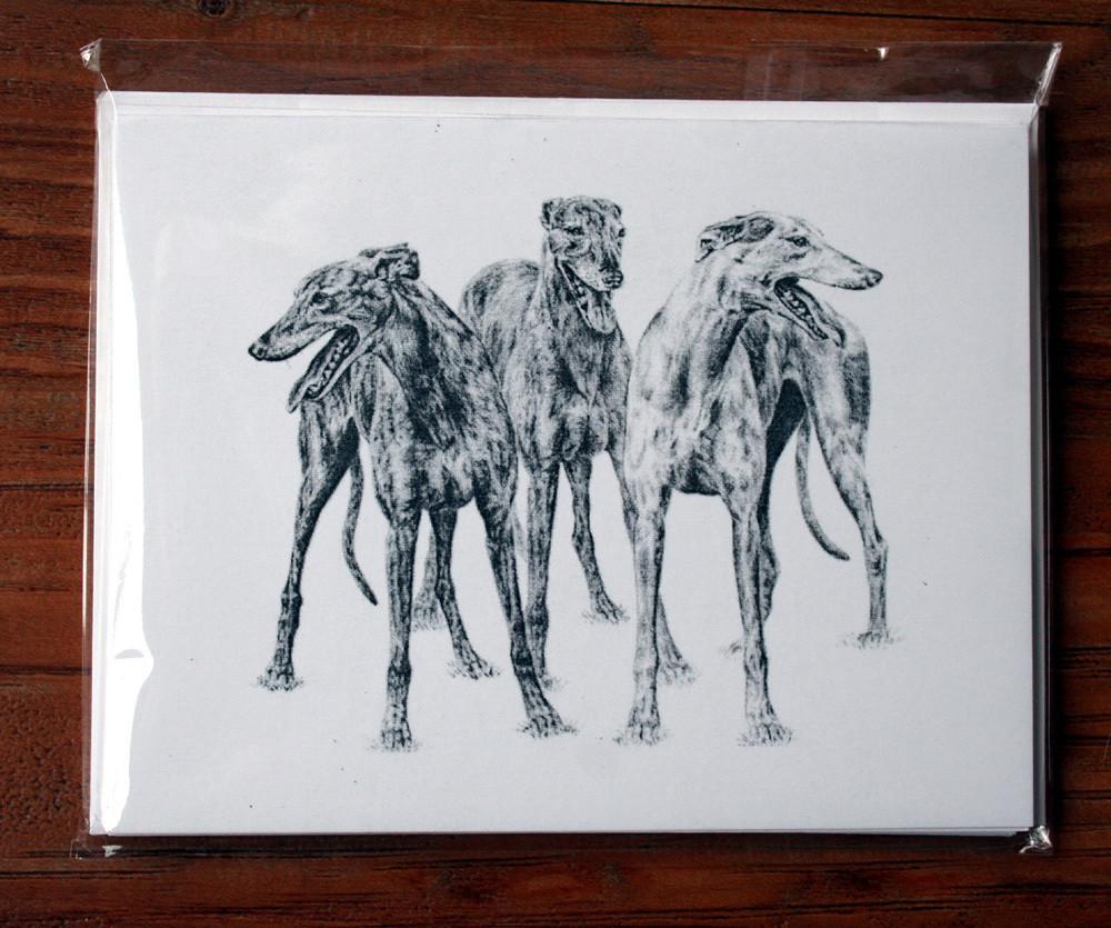 Greyhound Study Four Note Cards