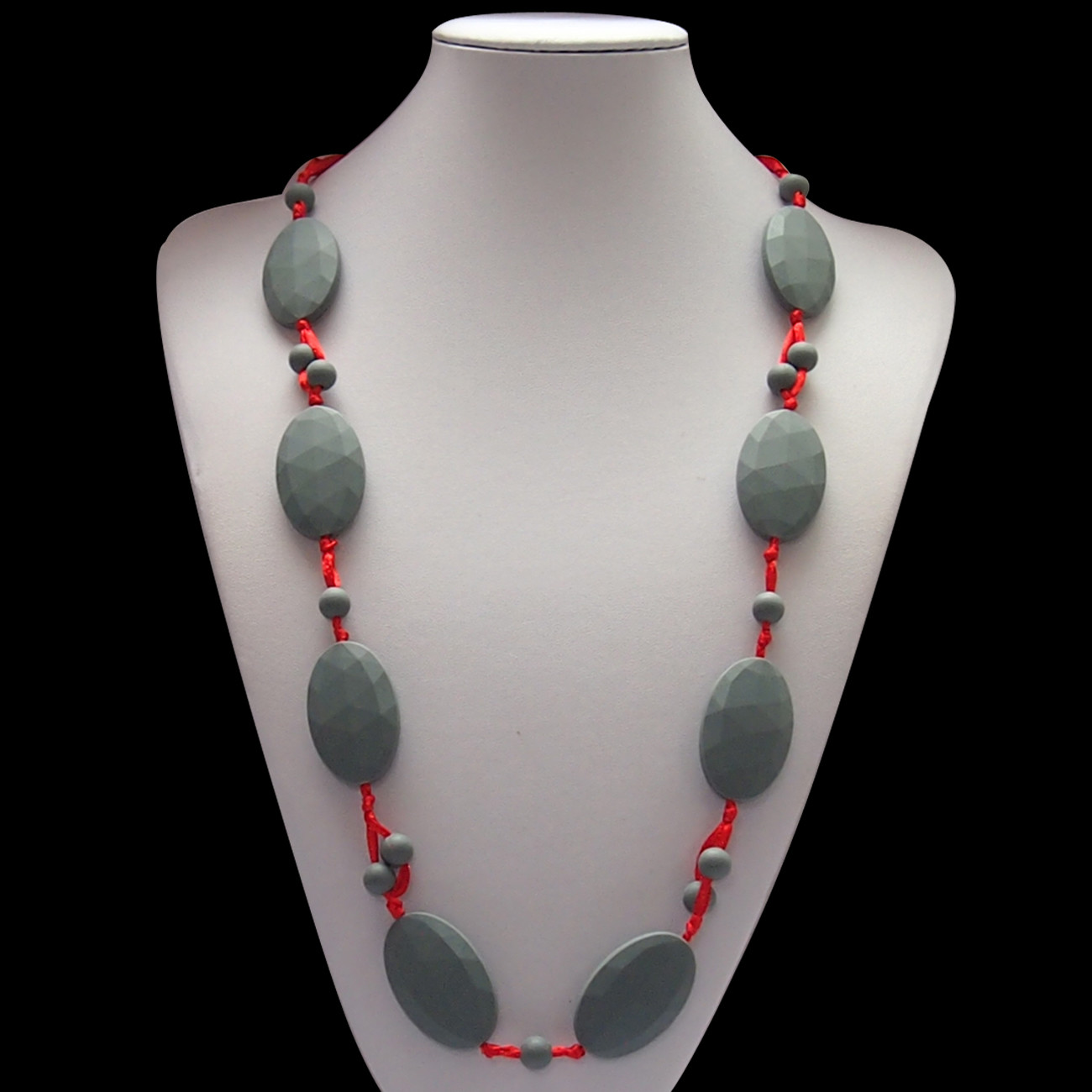 Bobbles and Beads Red an Grey