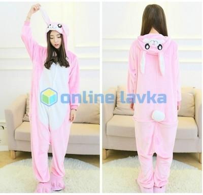 Пижама кигуруми заяц розовый (размер s)