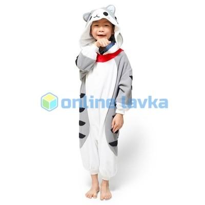Пижама кигуруми серый котик (рост до 120 см)