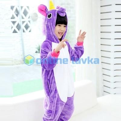 Пижама кигуруми Единорог фиолетовый (рост до 140 см)