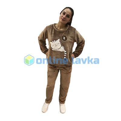 Пижама спящая киса коричневая L