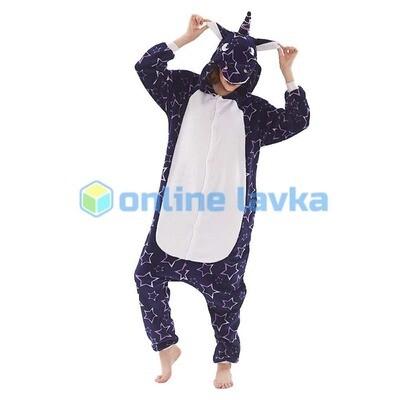 Пижама кигуруми Единорог темные звезды (размер s)
