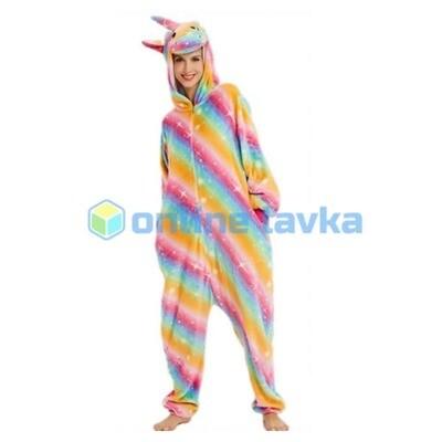 Пижама кигуруми Единорог радужная полоска (размер s)