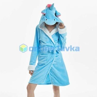 Халат кигуруми Единорог голубой S (на рост 140 - 155см)