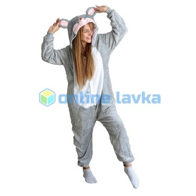 Пижама кигуруми мышка серая (размер m)