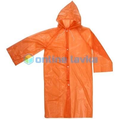 Дождевик 20 мкр 85 см Карина с капюшоном и завязками на кнопках оранжевый