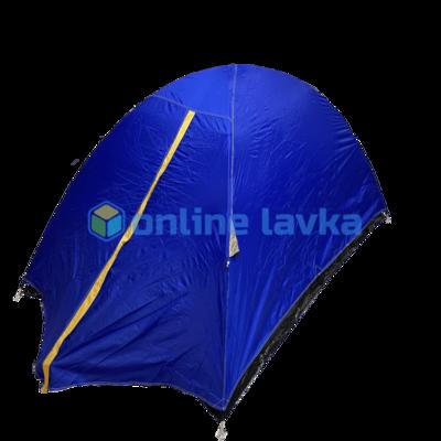 Палатка 2 места 2 слоя с плотным дном синяя