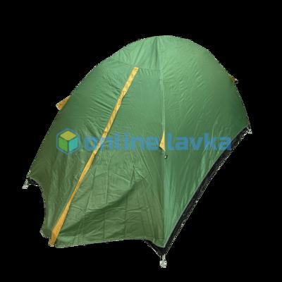 Палатка 2 места 2 слоя с плотным дном темно зеленая