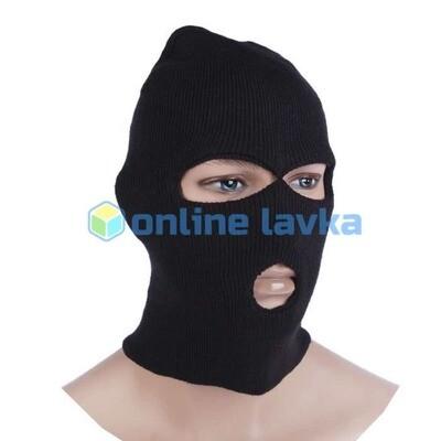 Шлем маска - 3 отверстия утепленная черная