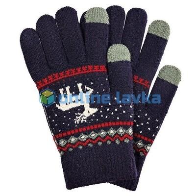 Сенсорные перчатки олени темно синие