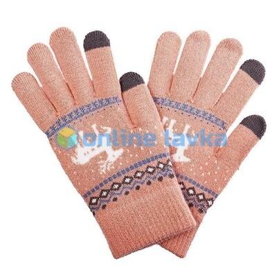 Сенсорные перчатки олени светло оранжевые
