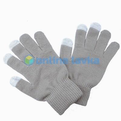 Сенсорные перчатки светло серые