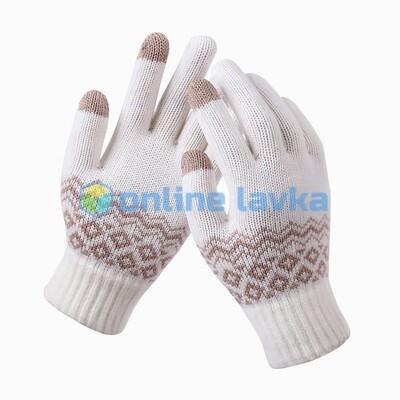 Сенсорные перчатки орнамент белые