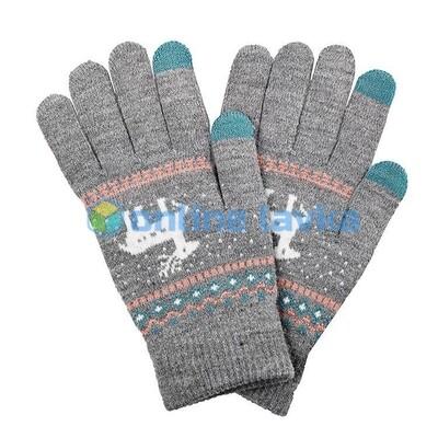 Сенсорные перчатки олени светло серые