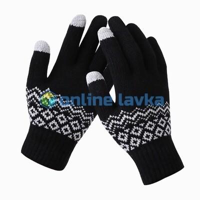 Сенсорные перчатки орнамент черные