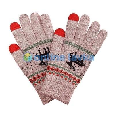 Сенсорные перчатки олени светло коричневые