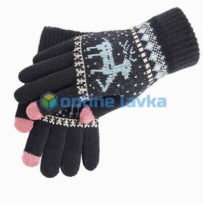 Сенсорные перчатки олени черные