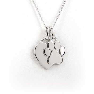 Heart and Paw Print Necklace - Sterling Silver with Rhodium Plating