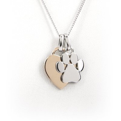 Heart and Paw Print Necklace - Sterling Silver with Rose Gold Plating