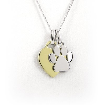Heart and Paw Print Necklace - Sterling Silver with Yellow Gold Plating