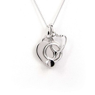 Heart and Stethoscope Necklace - Sterling Silver with Rhodium Plating