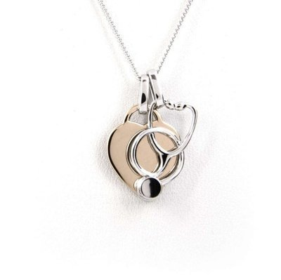 Heart and Stethoscope Necklace - Rose Gold Plated