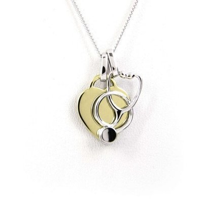 Heart and Stethoscope Necklace - Yellow Gold Plated