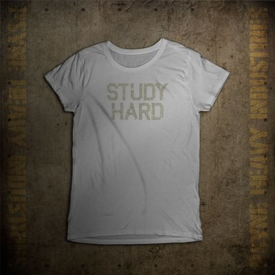 Study Hard Vintage College T-Shirt - Women's