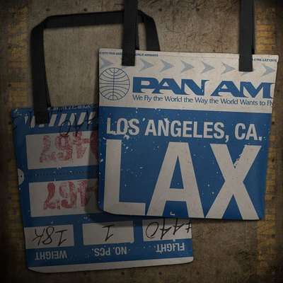Pan Am LAX Vintage Airline Baggage Claim Check Tote Bag