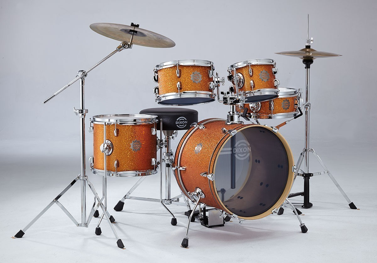 Dixon Jet Set 5pc Drum Kit with Hardware and Cymbals - Orange Sparkle