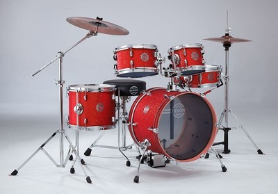 Dixon Jet Set 5pc Drum Kit with Hardware and Cymbals -  Red Sparkle