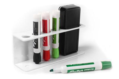 White Dry Erase Board Marker & Eraser Tray