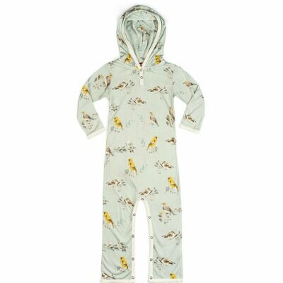 Hooded Romper - Bamboo Blue Bird